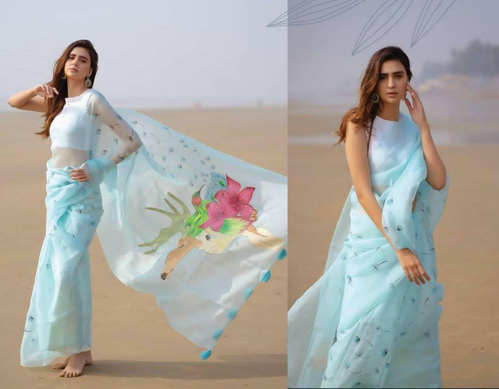 Light Blue Organza Saree With Floral Digital Print Work Online Shopping