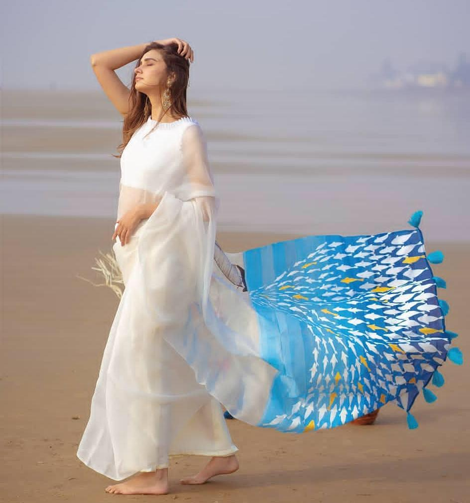 White Organza Saree With Floral Digital Print Work Online Shopping