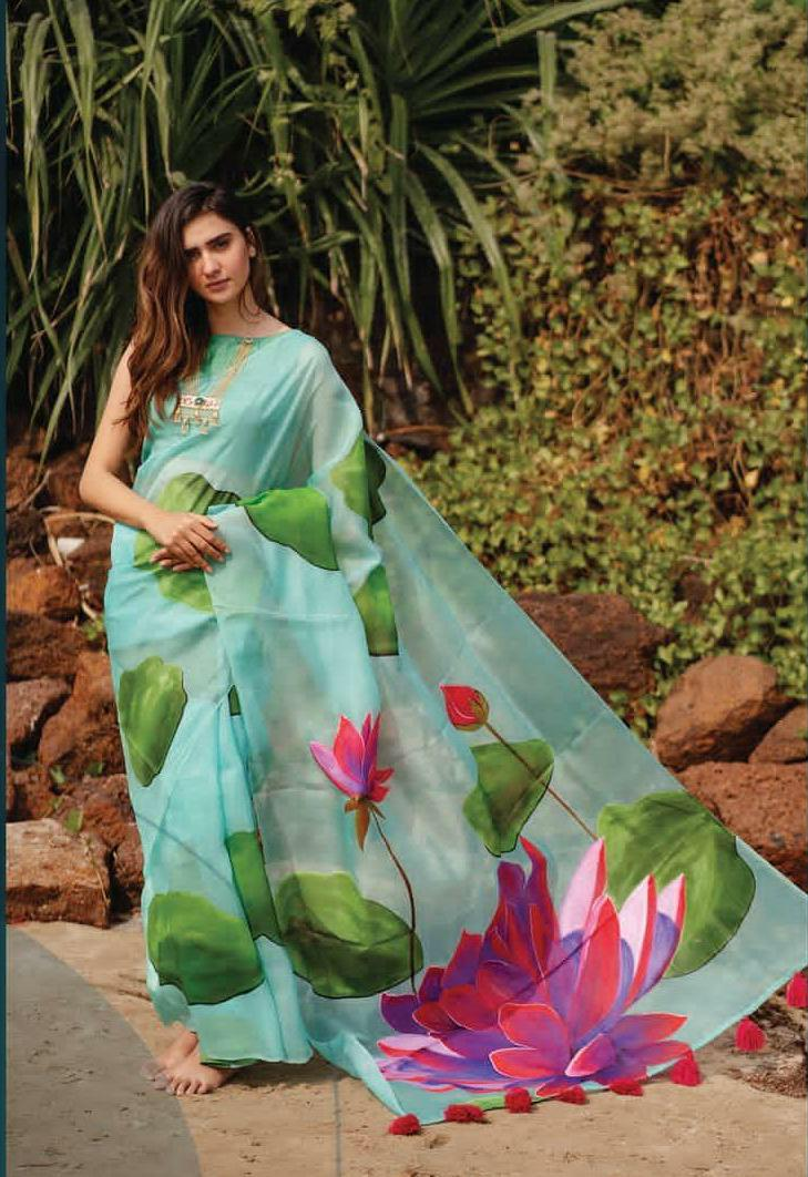 Sea Blue Organza Saree With Floral Digital Print Work Online Shopping