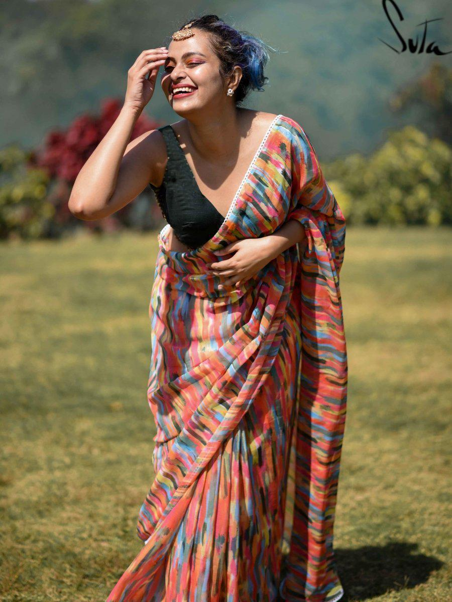 Digital Printed Colorful Holi Saree Online