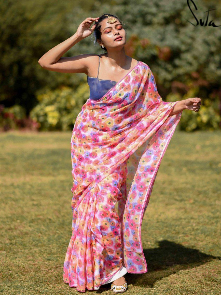 Light Pink Digital Printed Colorful Holi Saree Online
