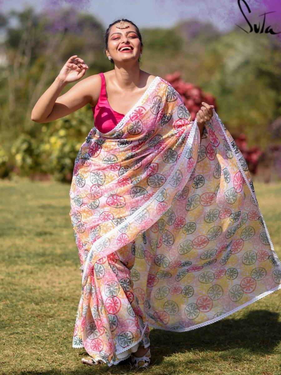 White Digital Printed Colorful Holi Saree Online