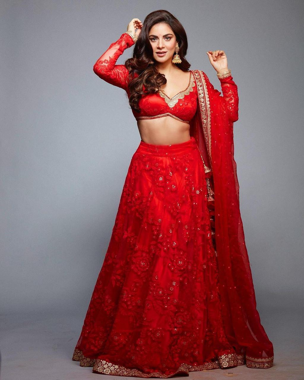 Red Georgette With Embroidery And Diamond Hand Work Lehenga Choli Online