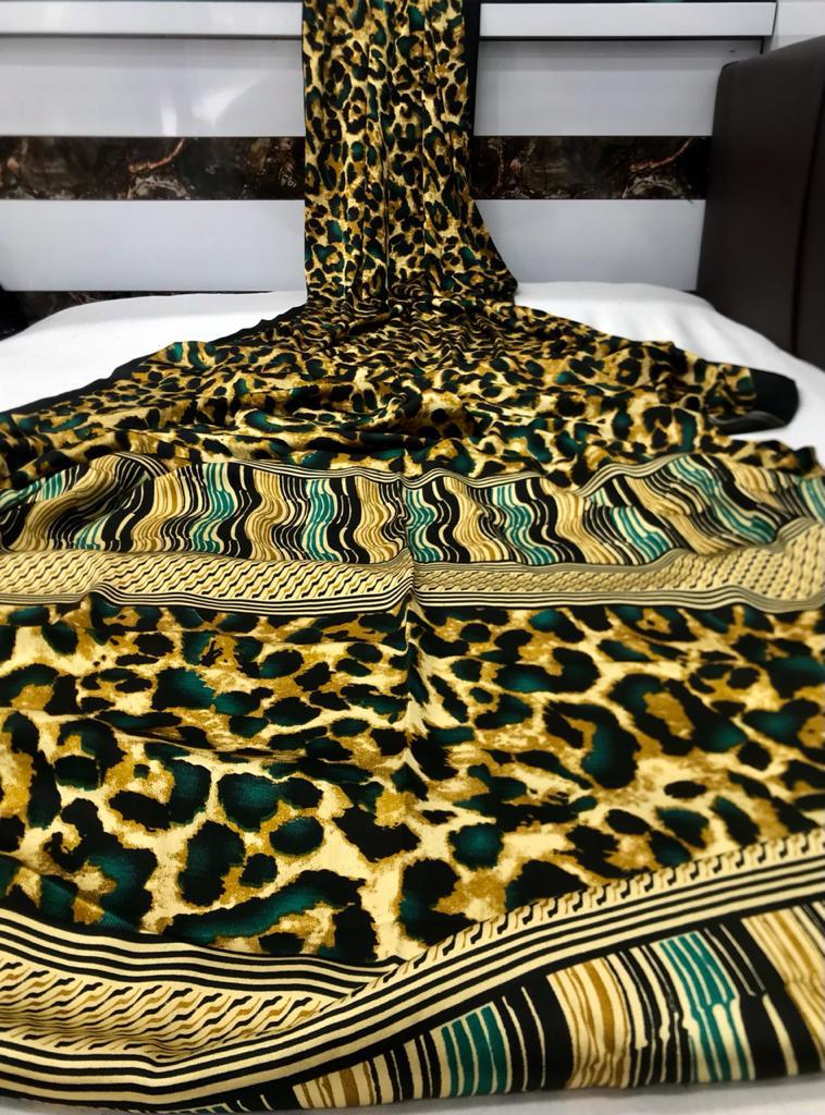 Animal Print Japanese Satin Silk With Digital Print Saree Shopping Online
