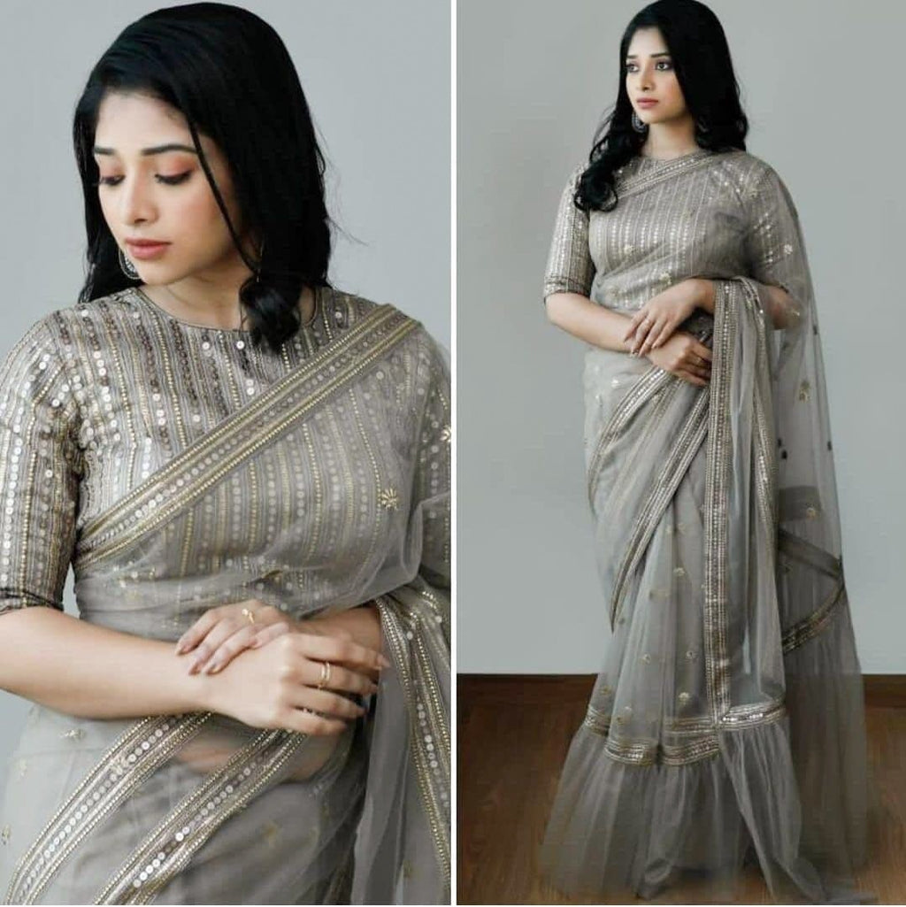 Grey Heavy Nylon Net Saree With Sequins and Embroidery Work Online Shopping