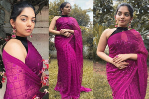 Dark Pink Georgette With Fancy Sequins Work New Party Sarees Online Shopping