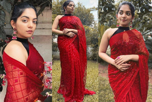 Red Georgette With Fancy Sequins Work New Party Sarees Online Shopping