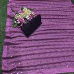 Pink Georgette With Fancy Sequins Work New Party Sarees Online Shopping