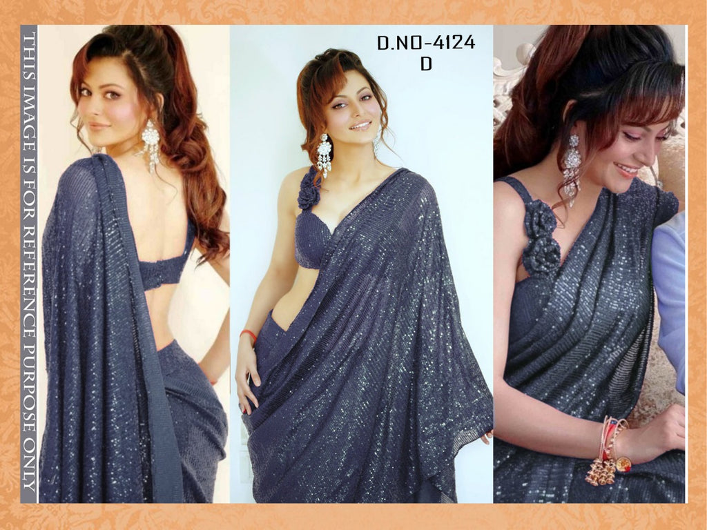 High Quality Grey Georgette Sequins Fancy Ladies Sarees Buy Online