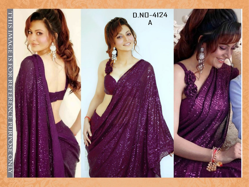 High Quality Mulberry Georgette Sequins Fancy Ladies Sarees Buy Online