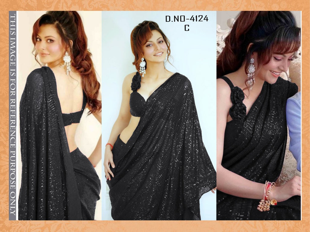 High Quality Black Georgette Sequins Fancy Ladies Sarees Buy Online