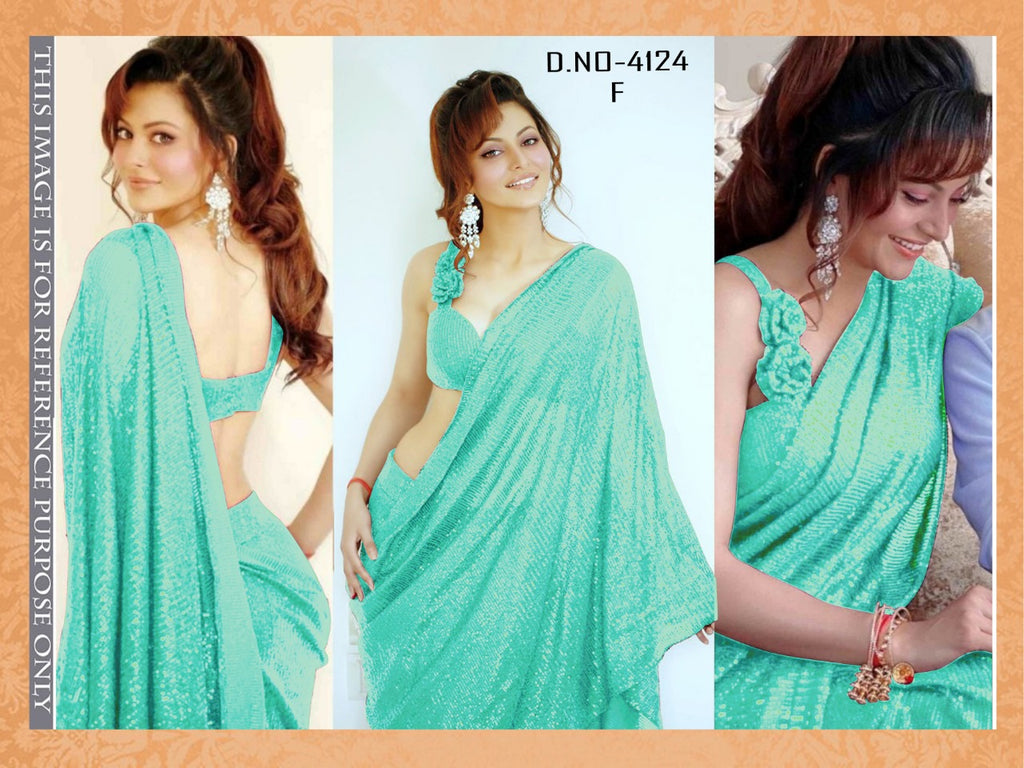 High Quality Turquoise Georgette Sequins Fancy Ladies Sarees Buy Online