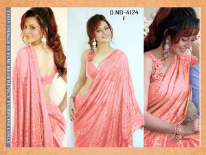 High Quality Peach Georgette Sequins Fancy Ladies Sarees Buy Online