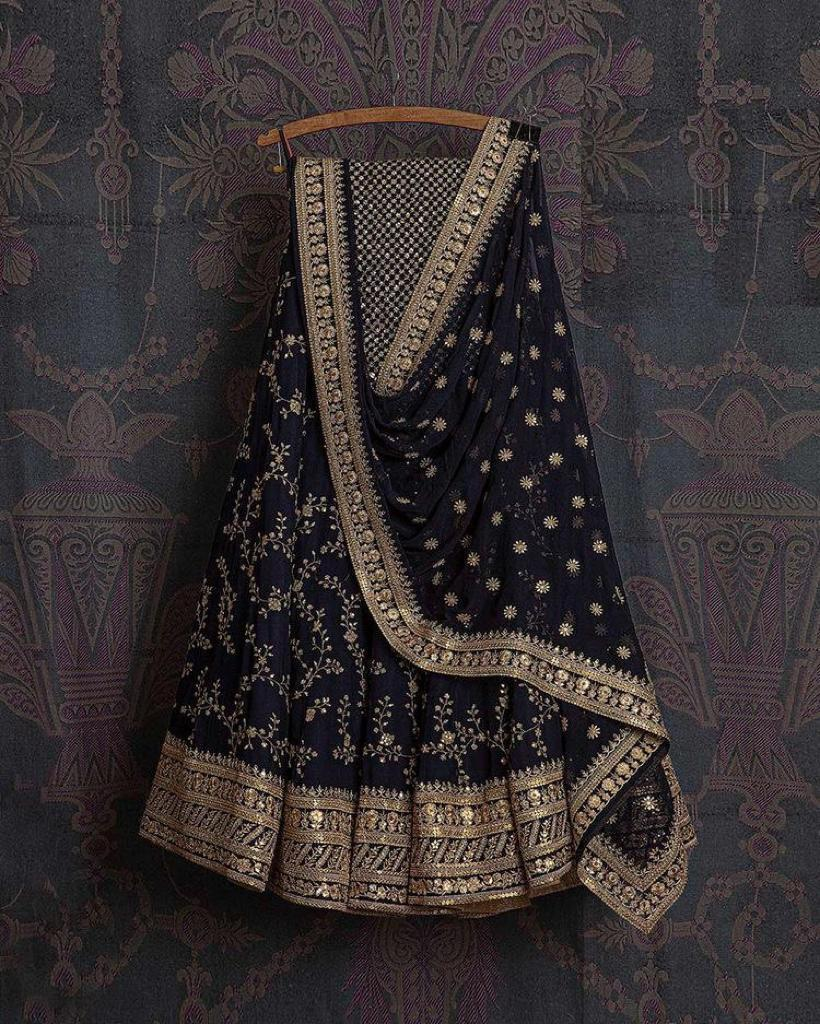 Navy Blue Georgette Net Embroidered With Sequins and Zari Thread Work  New Party Lehenga Choli