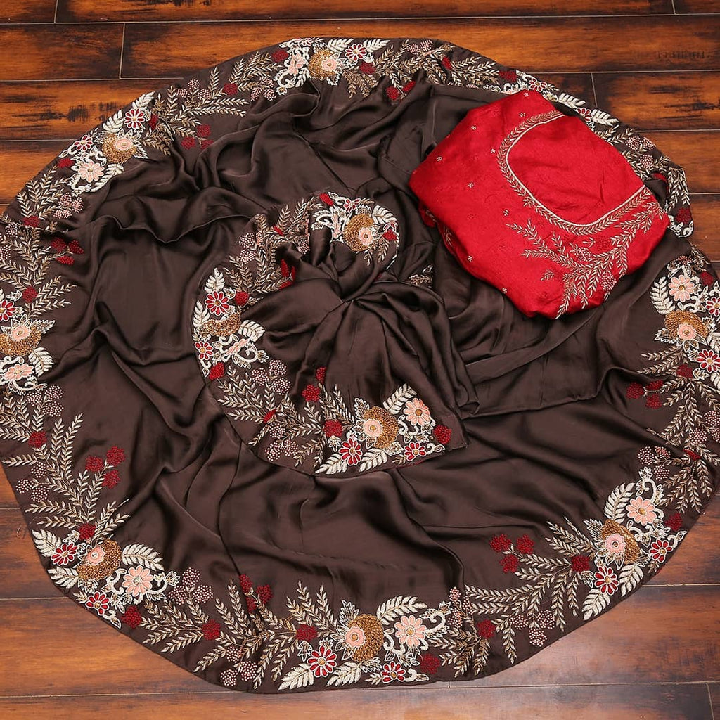 Brown Heavy Taffeta Silk Saree With Embroidered Thread Work Online Shopping
