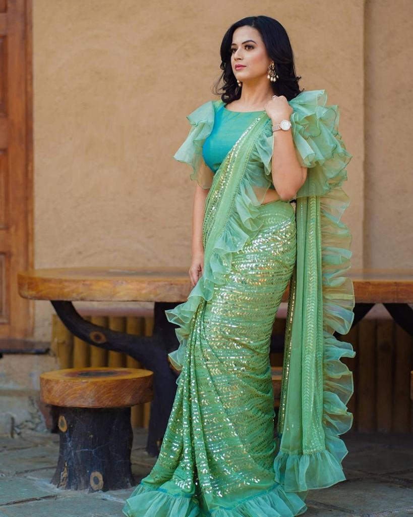 Mint Green Georgette Sequins Work With Ruffle Saree Shopping Online
