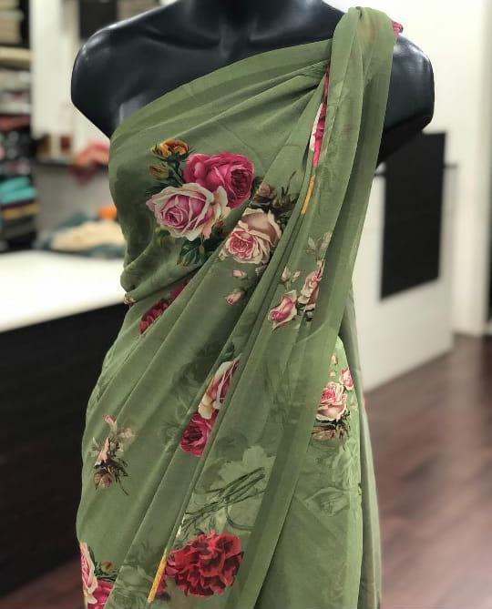Army Green Georgette With Digital Print Work New Party Sarees Online Shopping