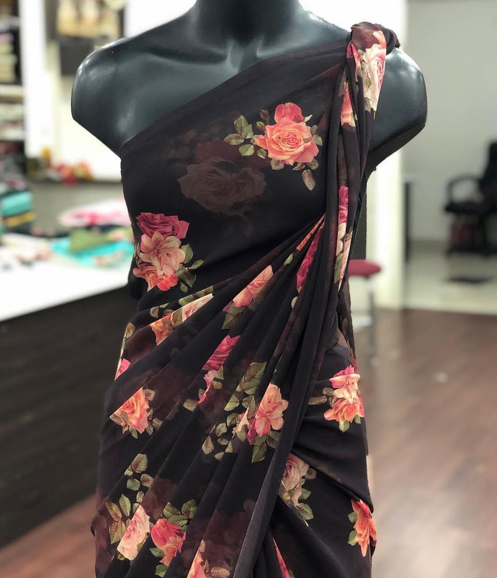 Black Georgette With Digital Print Work New Party Sarees Online Shopping