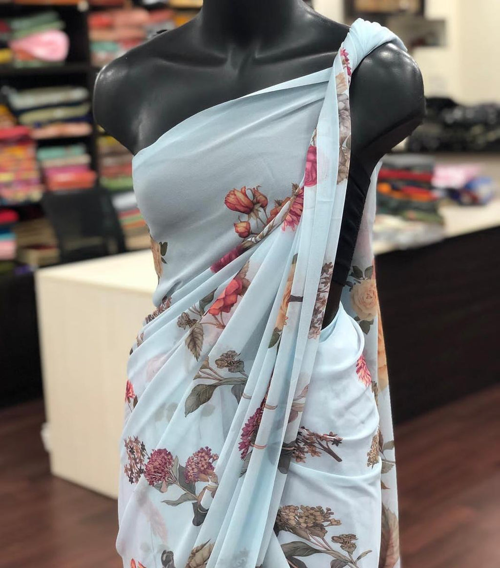 Pastel Blue Georgette With Digital Print Work New Party Sarees Online Shopping