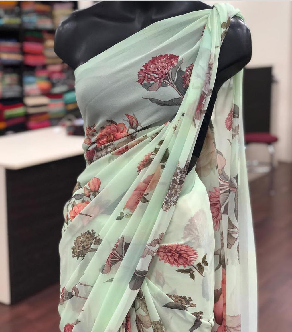 Pistachio Georgette With Digital Print Work New Party Sarees Online Shopping