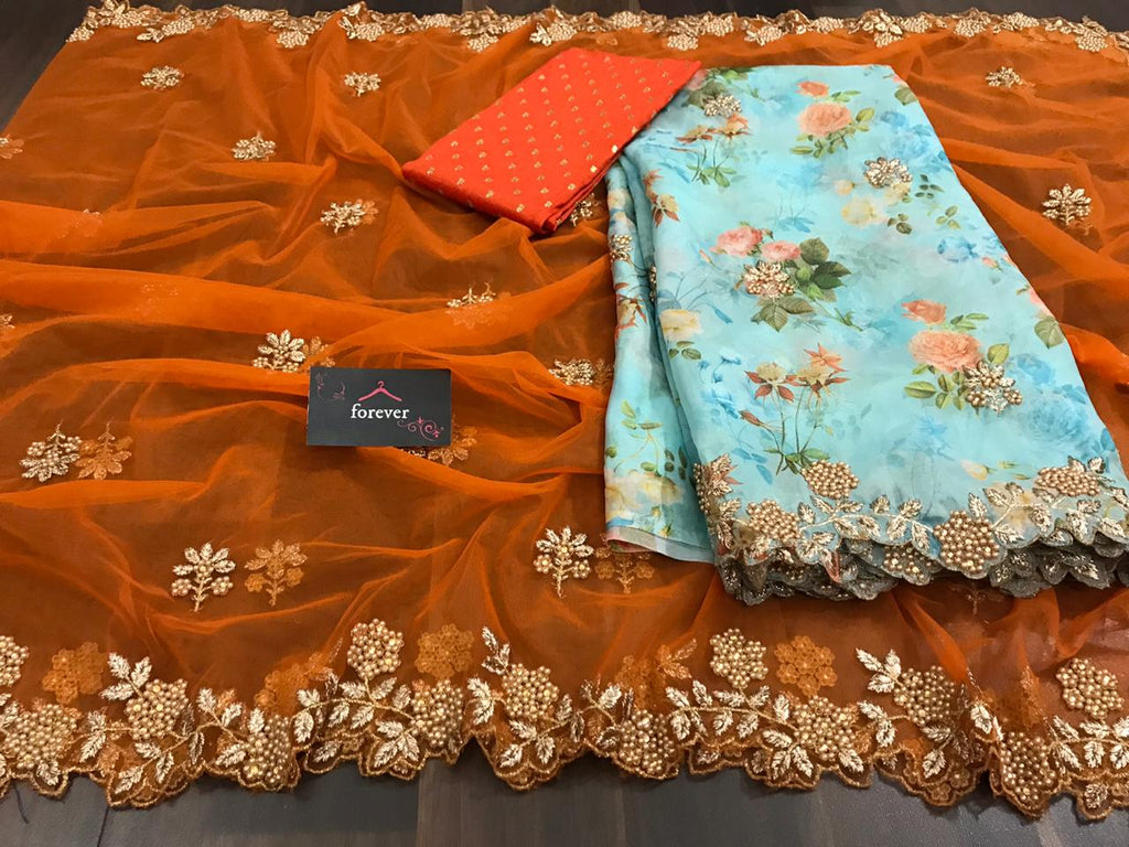 New Concept Orange Saree With Blue Dupatta Organza Silk With Digital Print Online Shopping