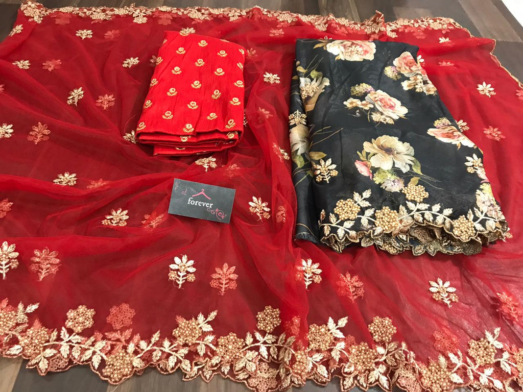 New Concept Red Saree With Black Dupatta Organza Silk With Digital Print Online Shopping