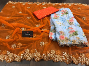 New Concept Orange Saree With Lilac Dupatta Organza Silk With Digital Print Online Shopping