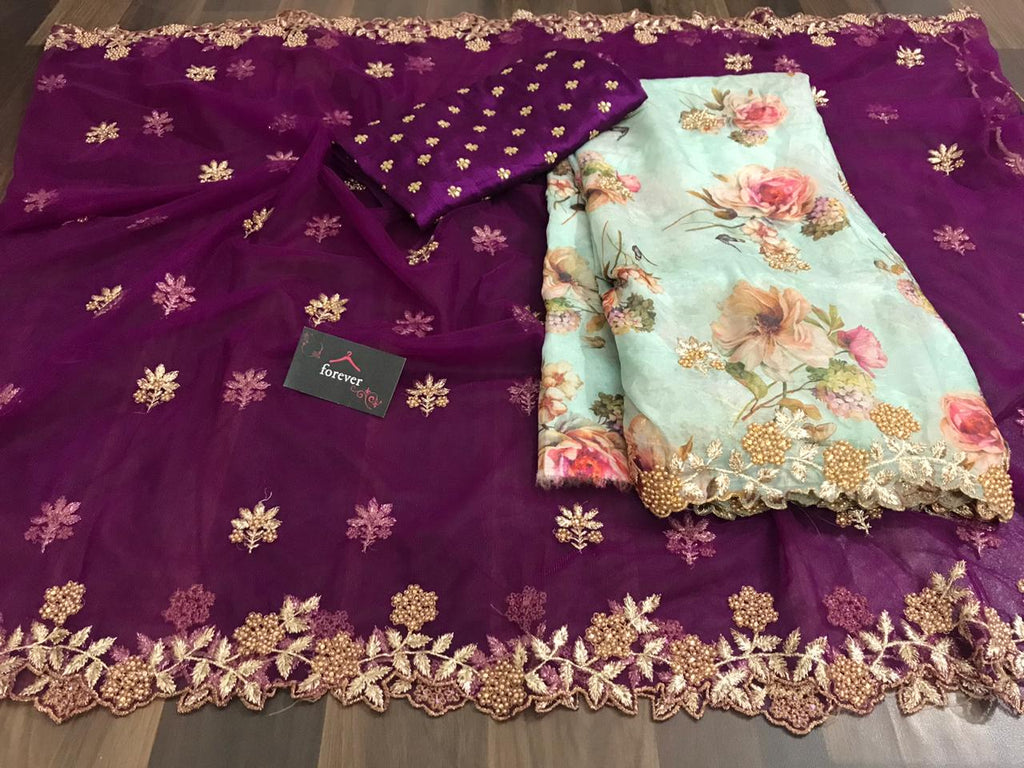 New Concept Wine Saree With Light Green Dupatta Organza Silk With Digital Print Online Shopping