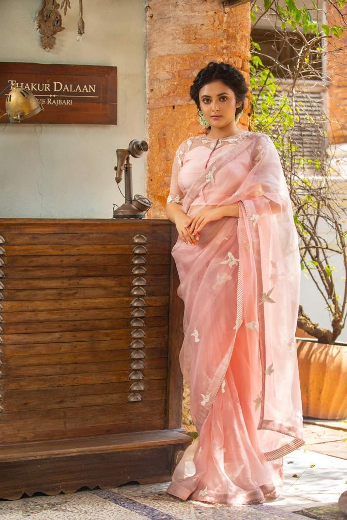 Premium Peach Organza Saree With Lace Work Online Shopping
