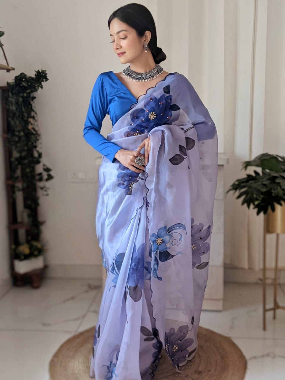 Soft Blue Organza Saree With Digital Print Work Online Shopping