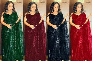 High Quality Wine Georgette Sequins Fancy Ladies Sarees Buy Online