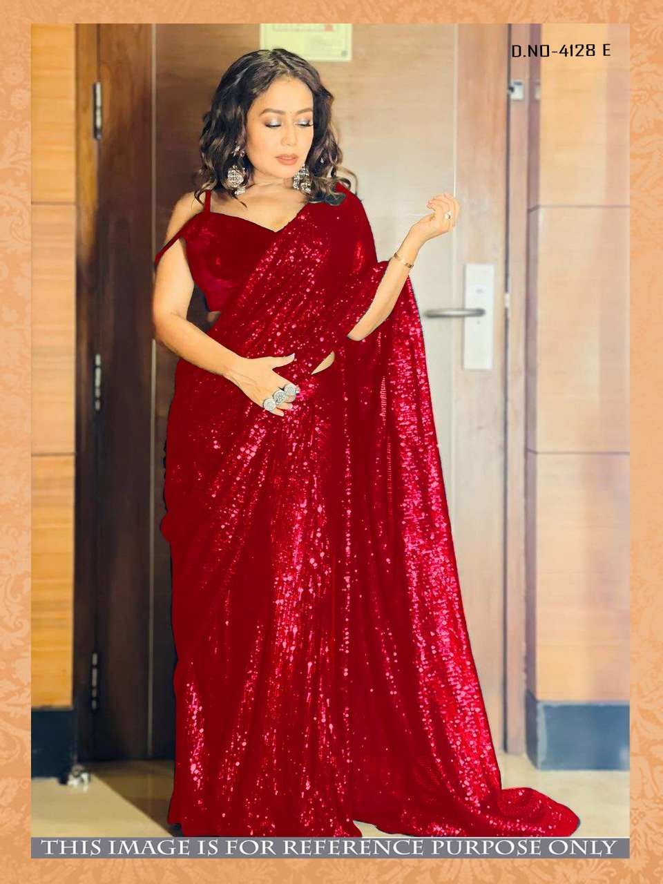 High Quality Red Georgette Sequins Fancy Ladies Sarees Buy Online