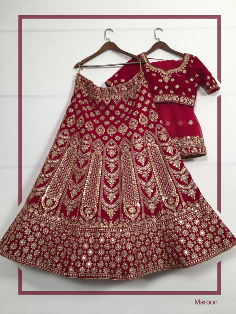Maroon Velvet Embroidered Indian Bridal Ghagra Choli Design Online
