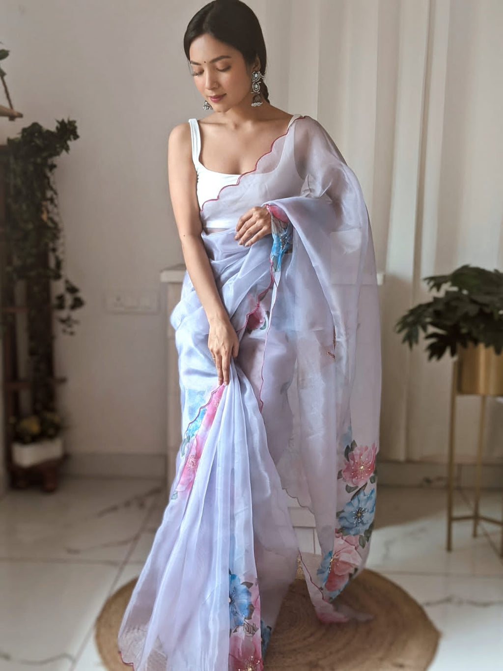 Lavender Organza Saree With Digital Print Work Online Shopping