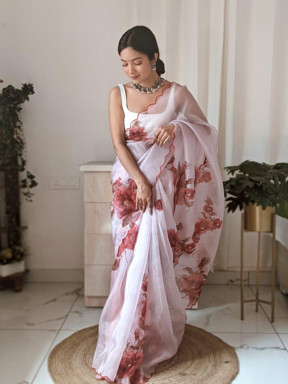 Peach Organza Saree With Digital Print Work Online Shopping