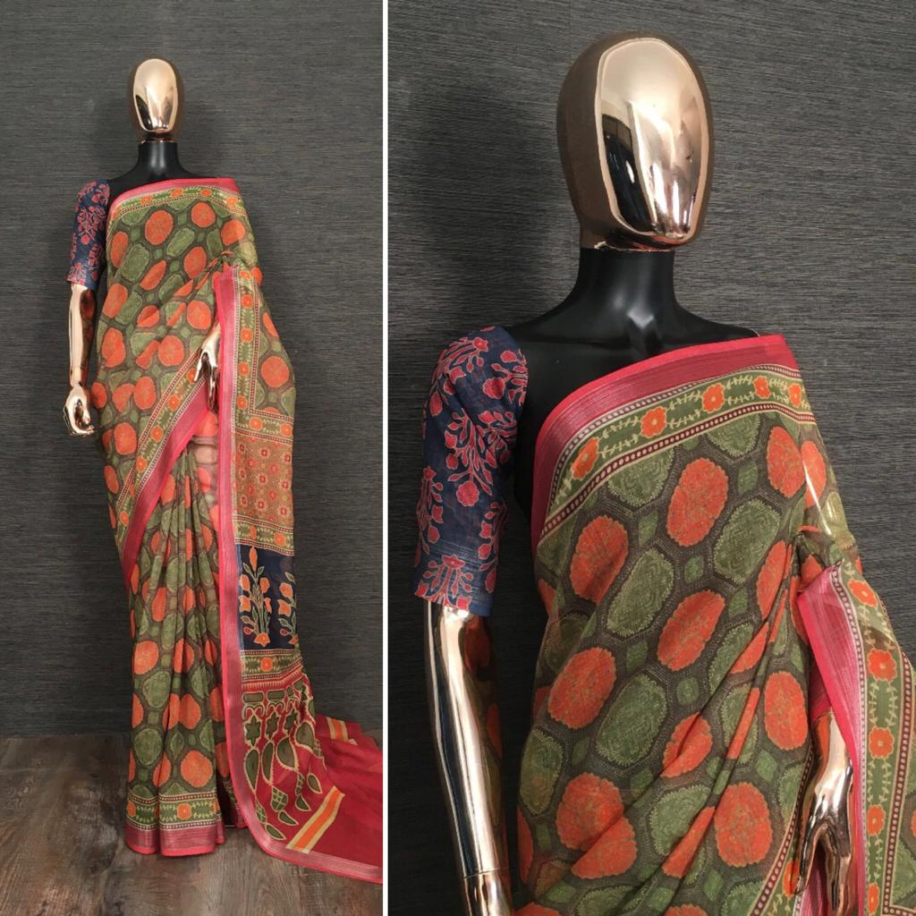 Green Pure Linen Saree With Kalamkari Printed online Shopping