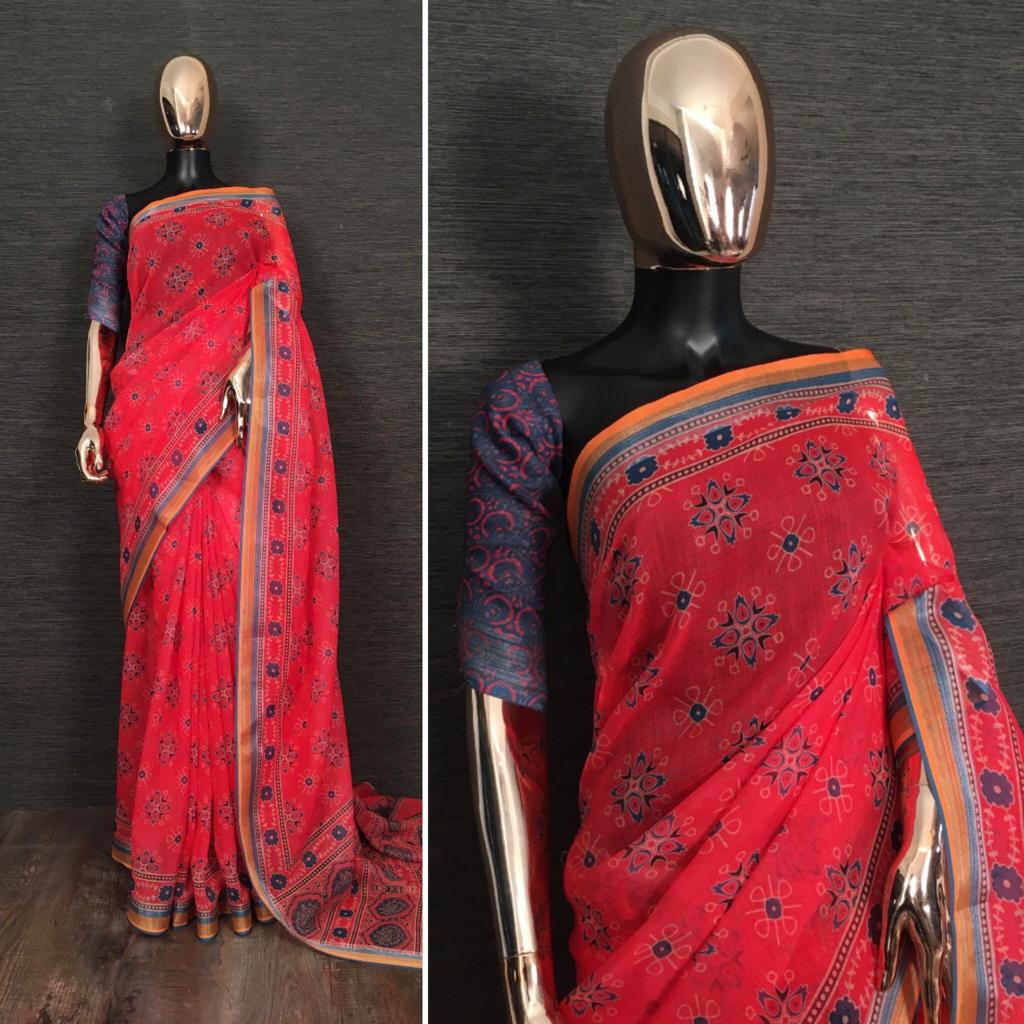 Red Pure Linen Saree With Kalamkari Printed online Shopping