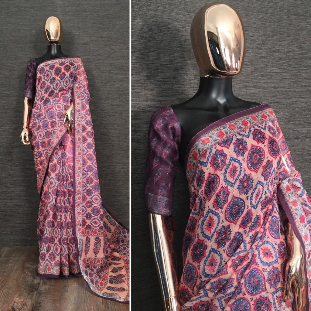 Plum Pure Linen Saree With Kalamkari Printed online Shopping