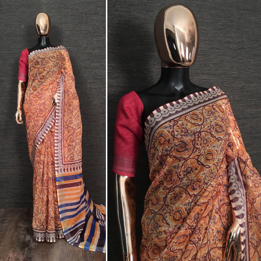 Caramel Pure Linen Saree With Kalamkari Printed online Shopping