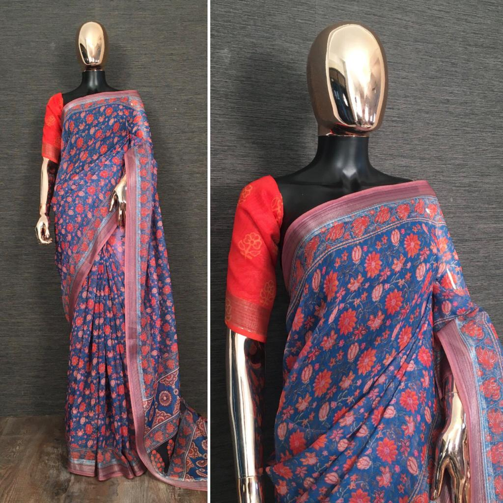 Blue Pure Linen Saree With Kalamkari Printed online Shopping