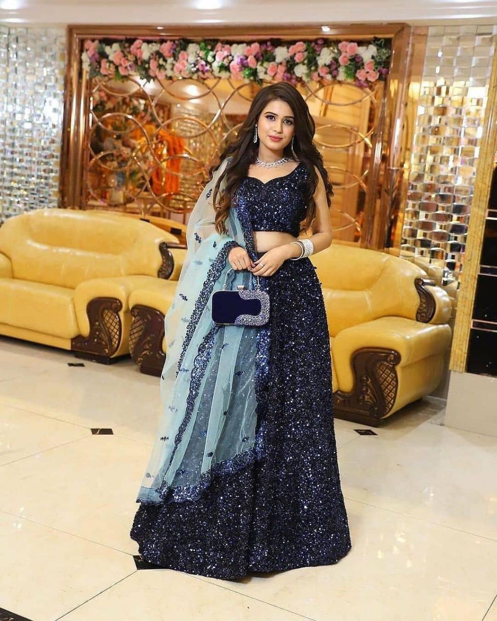 Blue Heavy Velvet Embroidered With Sequins Work Latest Lehenga Choli Online