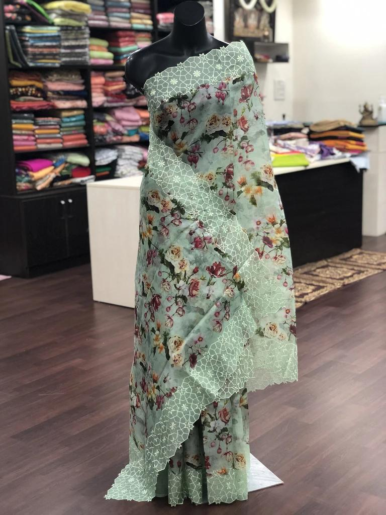 Mint Green Organza Saree With Digital Floral Printed Work Online Shopping