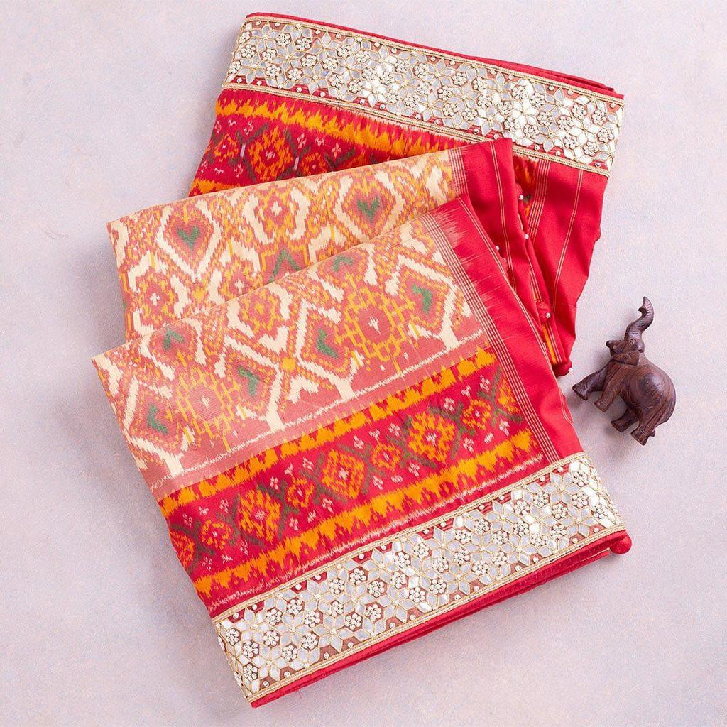 Chanderi Saree With Print Sequins And Foil Paper Lace Work Online India