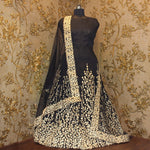 Black & Gold Embroidered Bollywood Anarkali ,Indian Dresses - 2