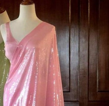 Pink Georgette Sequins Work New Party Sarees Online Shopping