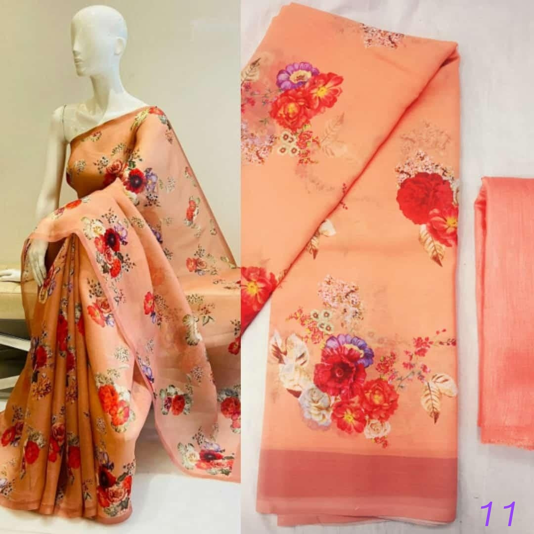 Beautiful Soft Georgette Floral Digital Print Combo Latest Saree Designs Online