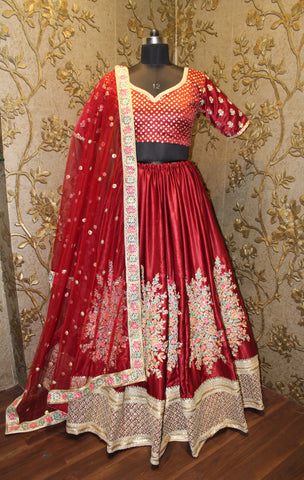 Maroon  Resham, Zari With Antique Pearl Work Bollywood Lengha Choli