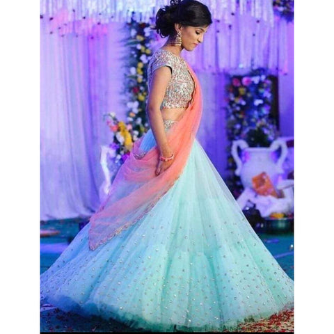 Beautiful Light Blue Net Latest Trend Lehenga  Choli Online