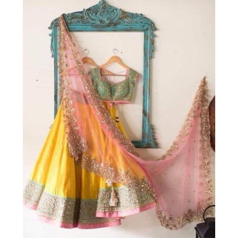 Yellow Banglori Silk Latest Party Wear Lehenga  Choli Online