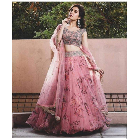 Pink Floral Printed Organza Indian Dress Ghagra Choli Online